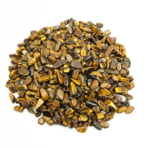 favoramulet Tiger's Eye Stone Tumbled Stone Chips, Polished Crushed Healing Crystal Quartz Pieces Vase Filler 1 LB