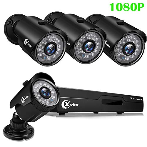 (XVIM 1080P 4CH Home Security Camera System CCTV DVR Recorder 4X Indoor/Outdoor Full 1080P HD Weatherproof Surveillance Bullet Cameras Night Vision, Motion Alert, Easy Remote Access (No Hard)