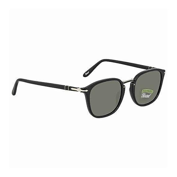 793de03f322a Persol Men's 0PO3186S 95/58 51 Sunglasses, (Black/Greenpolarized ...