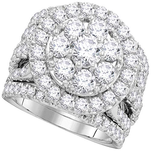 Jewel Tie - Size 10 - Solid 14k White Gold Round Diamond Certified Halo Cluster Bridal Wedding Engagement Ring Band Set 4.00 Cttw.