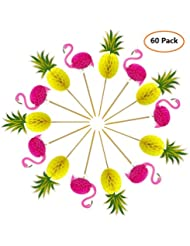 Joyclub 3D Pineapple and Flamingo Cupcakes Toppers Food Picks Party Cocktail for Lulu Party Tropical Cupcake Picks Decoration(60 Pack