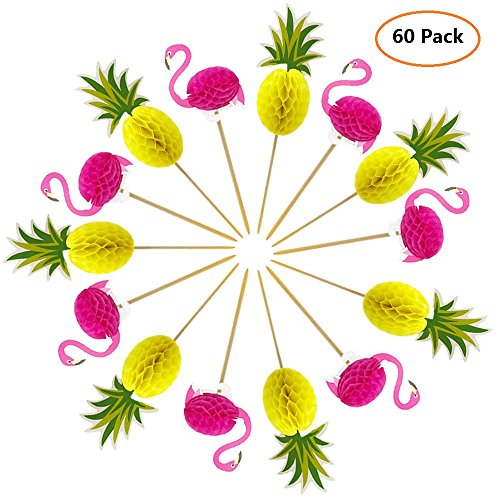 Joyclub 3D Pineapple and Flamingo Cupcakes Toppers Food Picks Party Cocktail for Lulu Party Tropical Cupcake Picks Decoration(60 Pack)