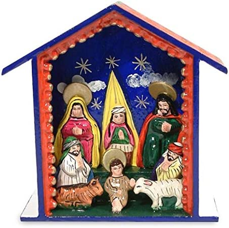 NOVICA Religious Wood Nativity Scene Multicolor Blessed are Those Who Come