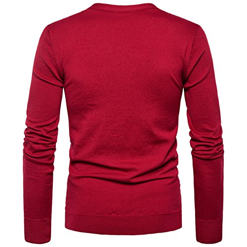 Couleur Moulant Tricot Garçon Knit Elonglin Uni Gilet Cardigan Homme Bouton En Veste Coton Sweater Chandail Col V Burgundy Décontracté q6PPpx4v