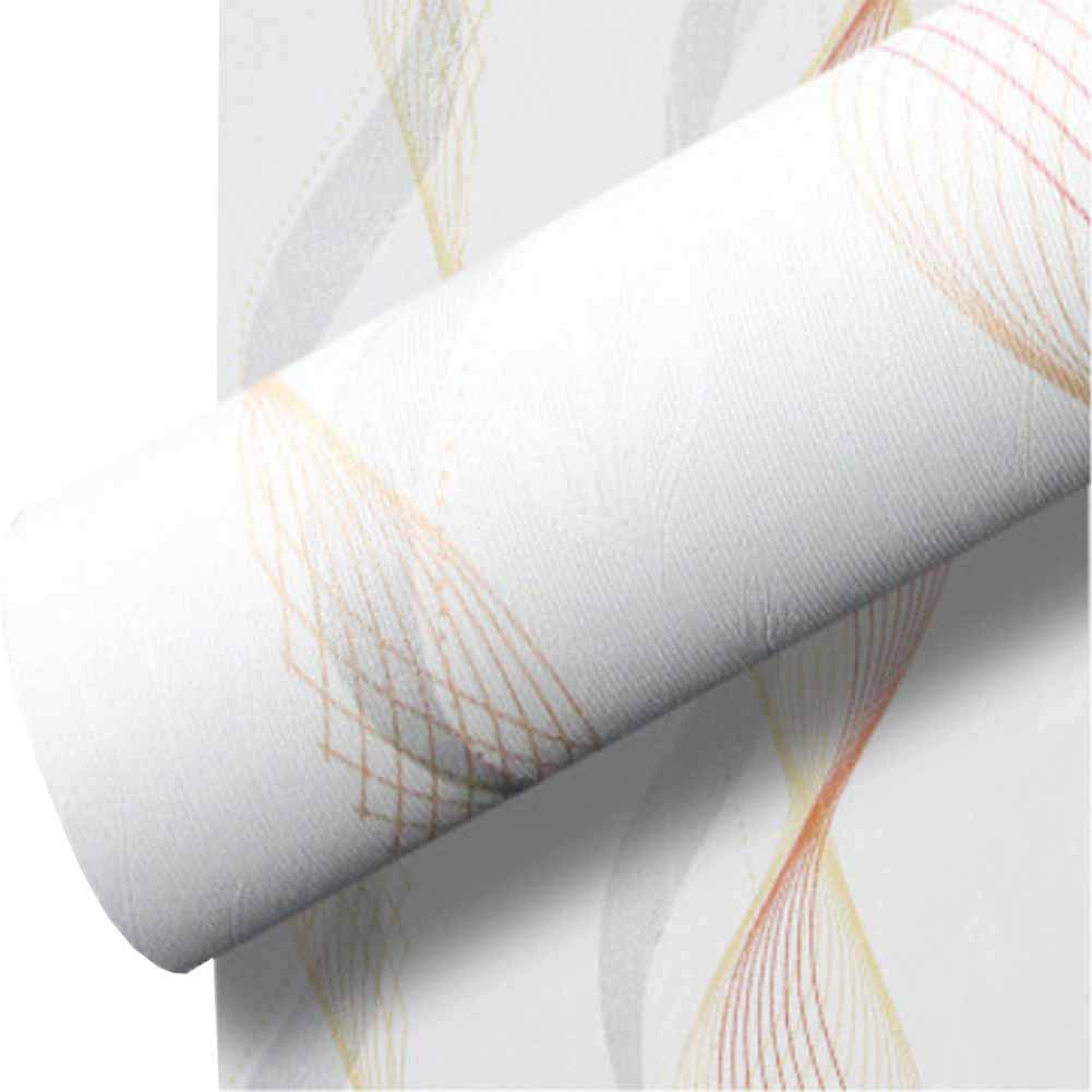 Self Adhesive Wallpaper, Peel and Stick Thick 3D Texture Home Decor Contact Wallpaper for Home Office Living Room, Bedroom, TV Background(Morden White Ground Colorful Curve Line 23.62''X 196.85'' inch)