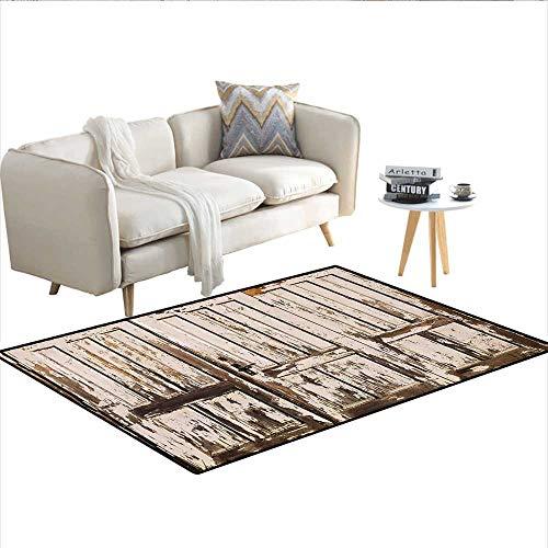 Carpet,Vintage House Entrance with Vertical Old Planks Distressed Rustic Hardwood Design,Rug Kid Carpet,Brown White 48