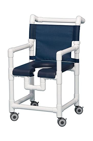 Amazon.com: Open Front Seat Deluxe PVC Rolling Shower Chair SC717N ...