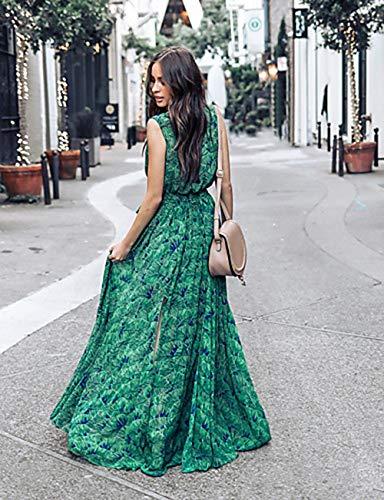 Alta Profunda Green TTDRESS En Swing Maxi Escote S Noche Corte Cintura Mujer Vestido V 1X6qZ6Hw