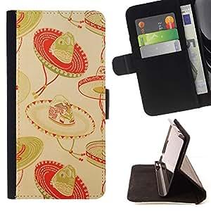 For Samsung Galaxy Note 5 5th N9200 Case , Mexicano Beige Rojo México- la tarjeta de Crédito Slots PU Funda de cuero Monedero caso cubierta de piel