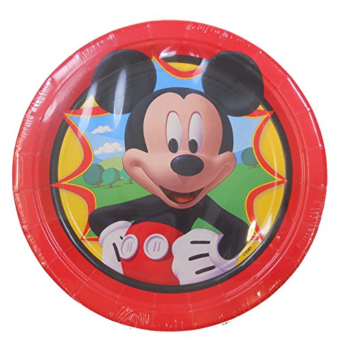 Mickey Mouse Birthday Party Dessert Plates - 8 per package ~NEW DESIGN~ (Round Mouse Mickey)