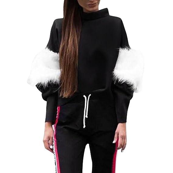 ❤ Sudadera Manga de Empalme de Felpa, Mujer Casual Patchwork Pullovers Blusa de Cuello Alto de Manga Larga Tops Outwear Absolute: Amazon.es: Ropa y ...