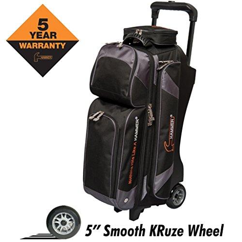 Hammer Premium Triple Roller Bowling Bag, Black/Carbon (Triple Bag Hammer Bowling)