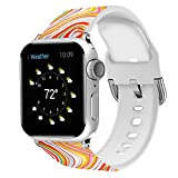Uhada Compatible with Apple Watch Series 4/3/2/1 Band 38mm 40mm 42mm 44mm, Pattern Printed Silicone Replacement Accessories for iWatch Bands