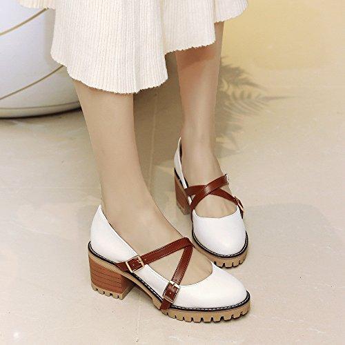 la tacón La casual y mujer zapatos de primavera sola college luz white gruesas de BBqw1xv