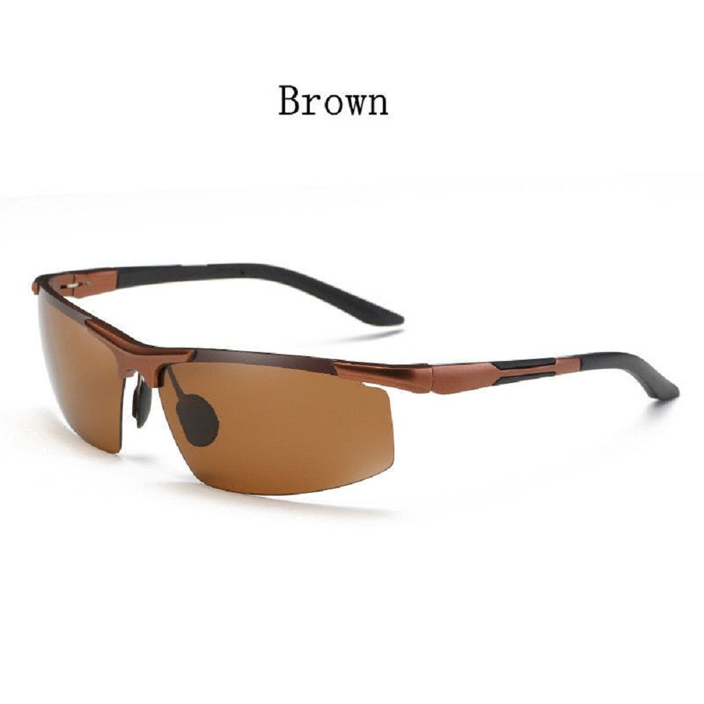 a041b6346606 Amazon.com  Fashion Mens Aluminum Polarized Sunglasses Outdoor Sport Goggle  HD Driving Glasses UV400 (Brown Brown)  Clothing