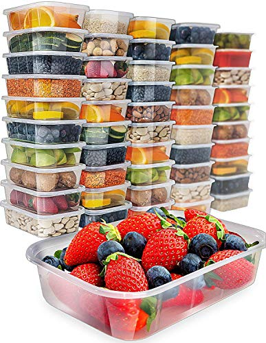 [50 pack, 17oz] Food Storage Containers With Lids - Plastic Containers With Lids Plastic Containers for Food Container With Lid - Freezer Containers Plastic Food Containers Deli Containers Meal Prep Clear Flat Square Lid