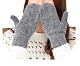 Winter Knit Wool Thicker Cashmere Velvet Warm Black Gloves Ladies Cute Fingerless Women Mittens Guantes,G140 Dark Gray,