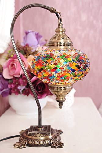 CopperBull New BOSPHORUS Stunning Handmade Swan Neck Turkish Moroccan Mosaic Glass Table Desk Bedside Lamp Light with Bronze Base Multicolor