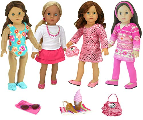 Sophia's 18 Inch Doll Wardrobe 14 Piece Set Includes Bathing Suit, Dress, Tunic, Skirt, Treats and Accessories Perfect for American Dolls & - Inch Pieces 18