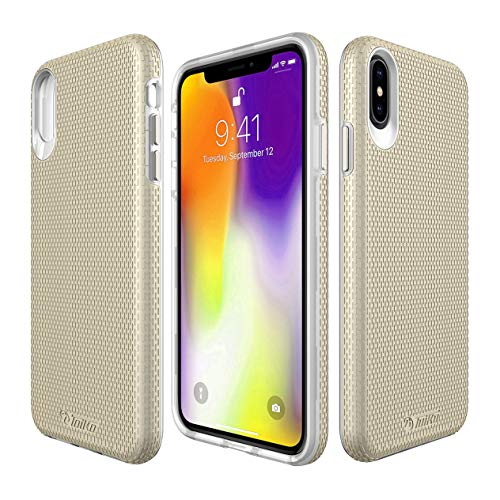 iPhone Xs Max case,2 in 1 Phone Case for iPhone Xs Max Full-Body Protective Impact Resistant Bumpers Cover for iPhone Xs Max 6.5 Inch (Gold)