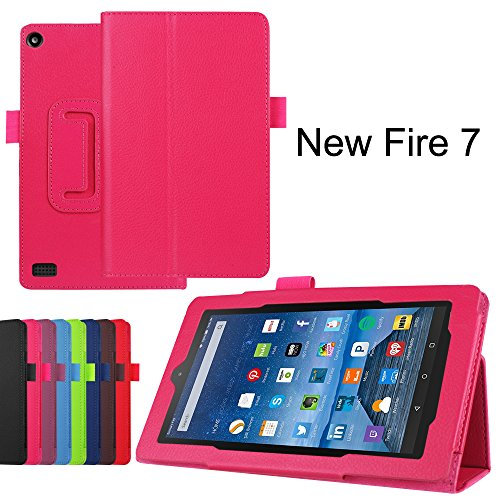 Fire 7 Case, KAMII Slim Lightweight Premium PU Leather Protective Folding Folio Case Cover for Amazon Kindle Fire 7 inch 7