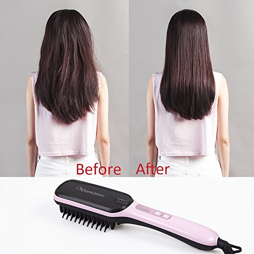 Hair Straightener Brush Ceramic Heating LCD Digital Hair Straightening Brush Before and after use preview