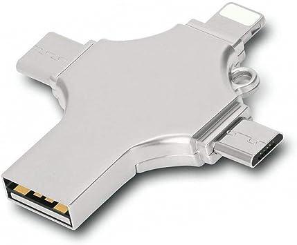 Flash Drive USB 3.0 4 En 1 Multifuncional De Almacenamiento Externo, Metal Unidad Flash con Diseño Cruzado Pen Drive De Memoria De Regalo Escuela De Negocios De Smart TV, Ordenador Portátil, PC,16GB: