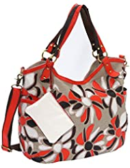 AmeriLeather Flora Canvas/Leather Tote