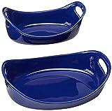 Rachael Ray Stoneware 1-1/4-Quart and 2-1/4-Quart Oval Bubble & Brown Baker Set, Blue