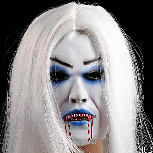 TorDen Creepy Scary Halloween Latex Toothy Zombie Ghost Mask Scary Emulsion Skin Horror Grimace Ghost Mask Scary Zombie Halloween (White hair mask (Mw2 Ghost Costume)