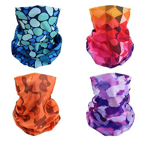 4x Colors of Summer Multifunctional Elastic Seamless Headwear Bandana Headband Half Face Mask Scarf Neck UV Sun Protection Windproof Dustproof Motorcycle Bike Airsoft Paintball Hunting Hiking Fishing ()