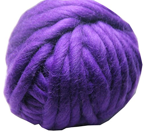 Merino Wool Super Chunky Yarn- Bulky Roving Yarn for Finger Knitting,Crocheting Felting,Making Rugs Blanket and Crafts by FLORAKNIT (Purple, Medium-20mm - Felt Chunky