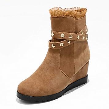SHANGWU Cuñas de Mujer Botines/Tacón Alto Oculto 8 CM Zapatillas de Deporte Plataforma Superior Botas Casuales Zapatos de Fiesta Negros Botas Tamaño: ...