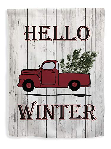 ThisWear Winter Decorations Hello Winter Flag Winter Holiday Seasonal Decor Truck Vertical House Flag Multi