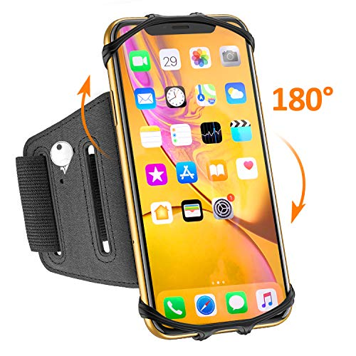 Matone Phone Armband, 180° Rotatable Phone Holder for Running, Compatible with iPhone XR/XS Max/X/8 Plus/7, Samsung Galaxy S10 Plus/S10/S10e/S9, Universal Highly Adjustable Running Arm Band