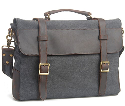 Bronze Times(TM) Retro Cotton Canvas and Leather Shoulder Messenger Bag Briefcase Fits 15