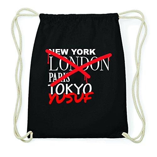 JOllify YUSUF Hipster Turnbeutel Tasche Rucksack aus Baumwolle - Farbe: schwarz Design: Grafitti 3yIX55OG