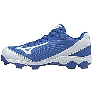 Mizuno (MIZD9) Boys' 9-Spike Advanced Franchise 9 Molded Cleat-Low Baseball Shoe, Royal/White, 1 Youth US Little Kid