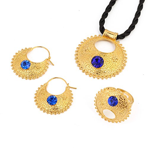 Stone Ethiopian New Jewelry Pendant Necklace Earrings Ring Ethiopia Africa Bride Wedding Eritrea Sets (Blue) by BR Gold Jewelry