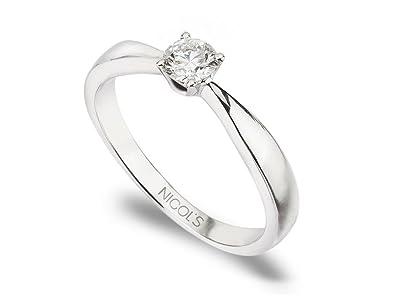 NICOLS 9992522 - Anillo de Compromiso Jackie Oro Blanco (18kt) con Diamante 0.05 Ct