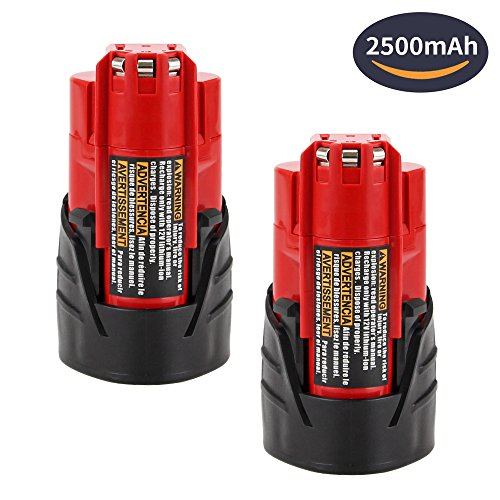 2 Pack 2.5Ah Replace for Milwaukee M12 Lithium-ion Battery 48-11-2410 48-11-2420 48-11-2411 48-11-241 XC Cordless Tools by Dosctt