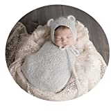 Newborn Baby Boy Girl Costume Photography Props Outfits Cute Hat Sleeping Bag (Grey)