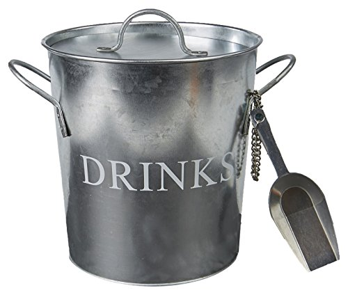 Mind Reader Metal Galvanized Ice Bucket with Bonus Ice Scooper and Lid, Silver