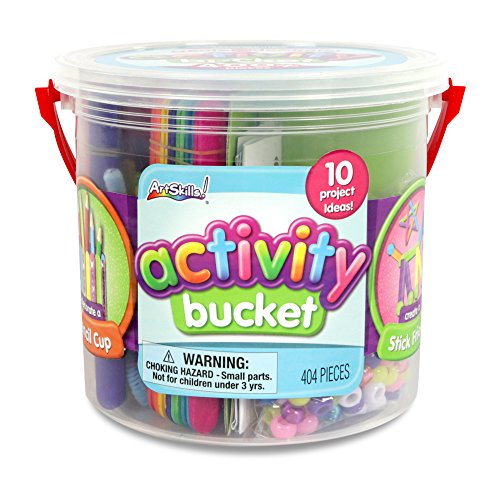 ArtSkills Activity Bucket, Arts and Crafts Supplies, 10 Project Ideas, Assorted Colors and Shapes, 404 (Craft Jar)