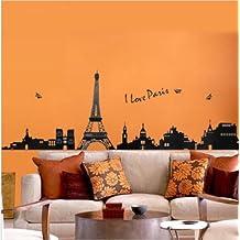 Luxbon Large I Love Paris Eiffel Tower Vinyl Home room Decor Removable DIY Art WallPaper Wall Sticker/Decal Mural