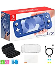 """Newest Nintendo Switch Lite, Blue Game Console, 5.5"""" 1280x720 Touchscreen Display, Built-in Control Pad, WiFi, Bluetooth, Speakers, AC Adapter, TSBEAU 6-in-1 Carrying Case Bundle"""