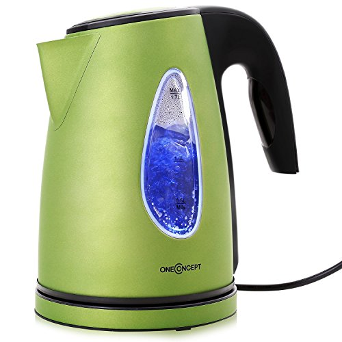 oneConcept Design Wasserkocher kabellos leistungsstark mit stylisch blauen LED-Lichteffekt (2200 Watt, 1,7 Liter, Kalkfilter) grün