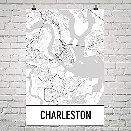 Amazon Com Modern Map Art Charleston Poster Charleston Art Print