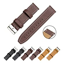 CIVO Watch Strap - Quick Release Top Genuine Grain Leather Watch Bands Smart Watches Straps 18mm 20mm 22mm (Dark Brown Leather / White Stitching, 20mm)
