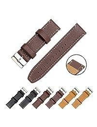 CIVO Watch Strap - Quick Release Top Genuine Grain Leather Watch Bands Smart Watches Straps 18mm 20mm 22mm (Dark Brown Leather / White Stitching, 20mm)